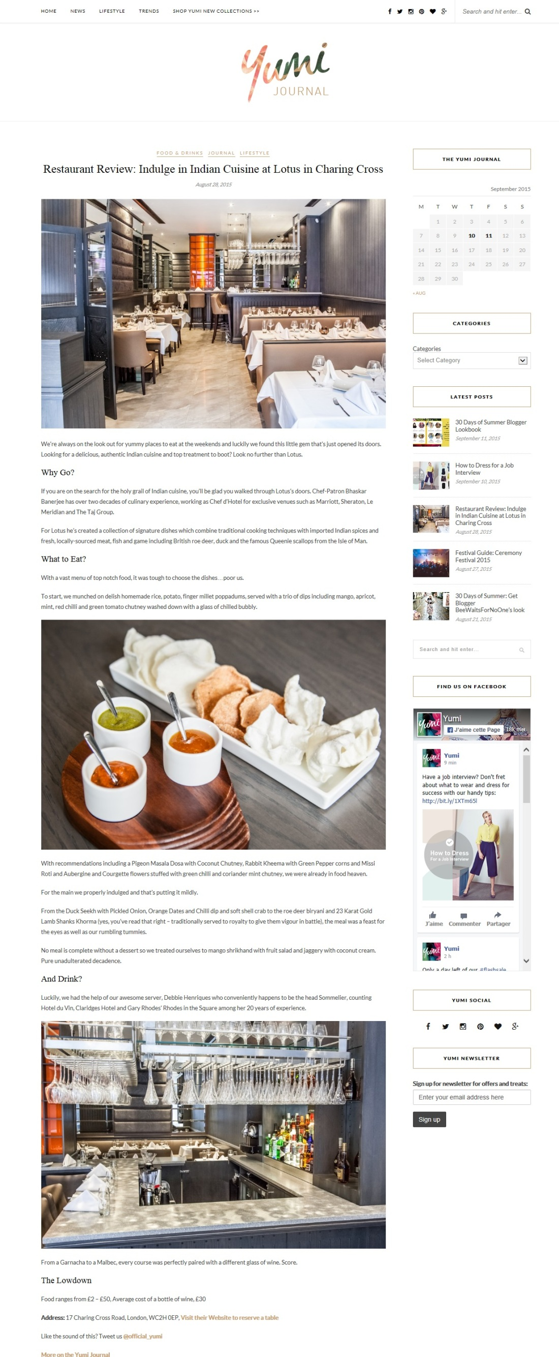 yumi journal restaurant review